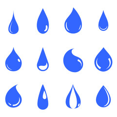 Water Drop Emblem. Logo Template. Icon Set Design Vector.