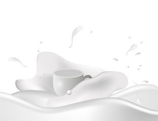 A cup of milk. Vector.