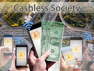 Concept of  Cashless Society, Digital money wallet
