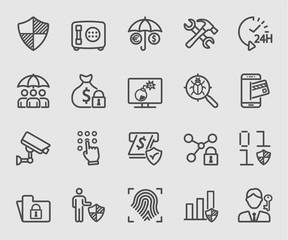 Business insurance and Security line icon