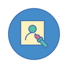 paintbrush and paper Stationery Office tool icon blue button