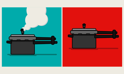 Pressure Cooker Whistle With Steam Coming Out in Flat Art Style Design