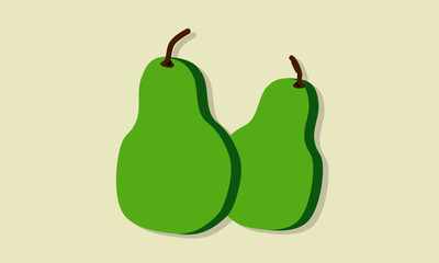 Pears in Flat Style Design