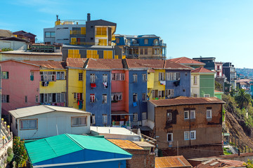 Colorful old houses seen in Valparaiso, Chile