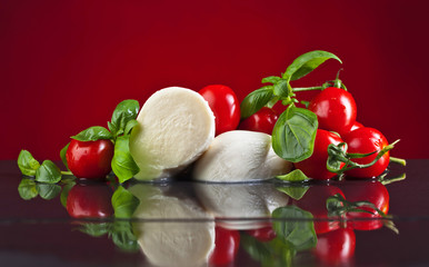 Mozzarella with tomatoes and green  basil.