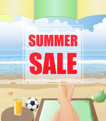 Summer sale text on beach background vector image