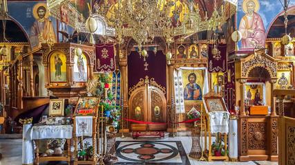 Interior of the 15th-century Serbian Orthodox monastery Tvrdos. Trebinje, Bosnia and Herzegovina
