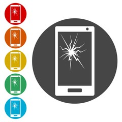 Mobile phone icons set with smashed screen - Illustration