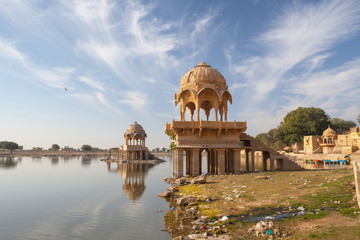 Ornate, Domed Jain Temple on Gadisar Lake, Jaisalmer, India
