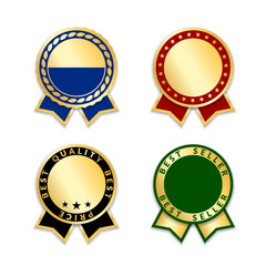 Award ribbons isolated set. Gold design medal, label, badge, certificate. Symbol best sale, price, quality, guarantee or success, achievement. Golden ribbon award decoration Vector illustration