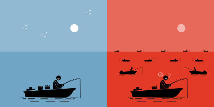 Blue Ocean Strategy vs Red Ocean Strategy. Vector artwork depicts competition, clash, struggle, competitors, uncontested market, and successful business strategy.