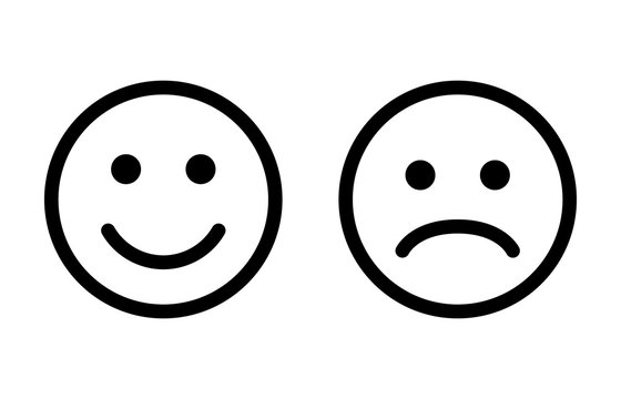 Happy and sad emoji smiley faces line art vector icon for apps and websites