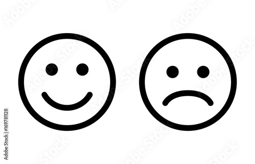 happy and sad emoji smiley faces line art vector icon for apps and
