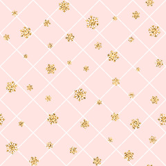 Christmas gold snowflake seamless pattern. Golden snowflakes on pink and white rhombus background. Winter snow texture wallpaper. Symbol holiday, New Year celebration Vector illustration