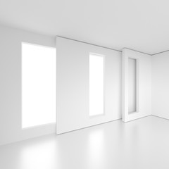 White Empty Room with Window. Office Interior Design