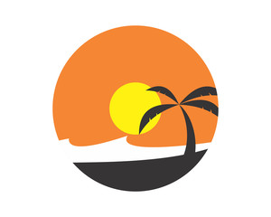 dawn afternoon in summer island silhouette vector