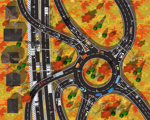 top view large circle automobile highway in the city in autumn with gold leaves