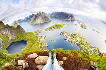 Fotomurales - View from Reinebringen on fishing village Reine, Lofoten, Norway