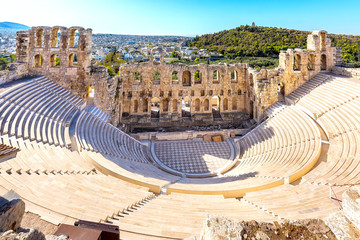 Ancient herodes atticus theater amphitheater of Acropolis of Athens, landmark of Greece