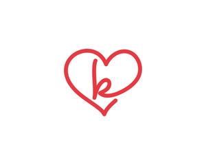 Lowercase Letter k and Heart Logo 1