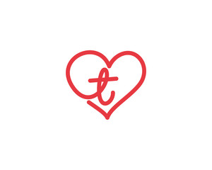 Lowercase Letter t and Heart Logo 1