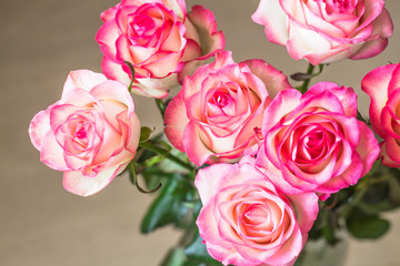 bouquet of fresh pink roses on table
