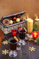 christmas mulled wine hot drinks with spices cinnamon cloves anise honey