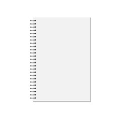 Mock up blank closed notebook  isolated on white background. spiral copybook or organizer.