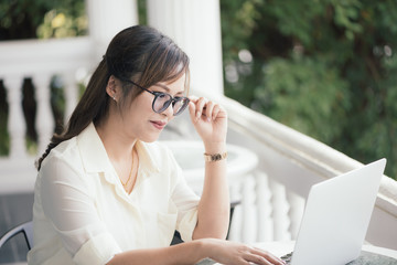 Asian young business freelance woman happiness working online bu