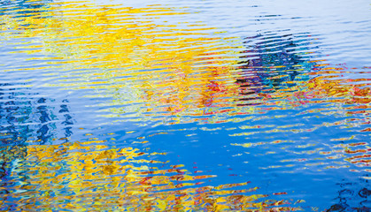 Water surface with colorful reflections