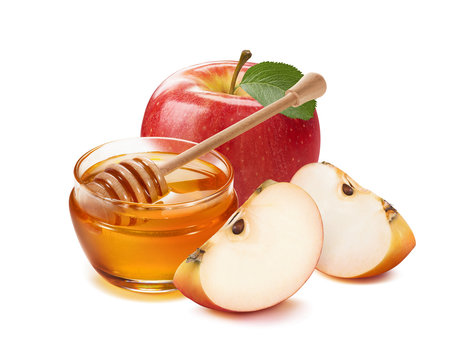 Apples and honey jar for jewish new year