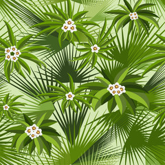 Tropical seamless pattern with leaves and flowers