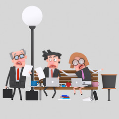 Worried business teamwork working on a park bench