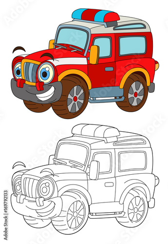 cartoon funny off road fire fighter truck looking like monster truck ...
