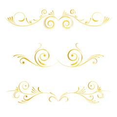 Set of page decoration golden elements