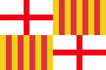 Barcelona city flag, Spain, Catalonia.