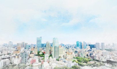 Wall Mural - Asia businessand culture concept - panoramic modern cityscape building bird eye aerial view under dramatic sunny and morning blue cloudy sky in Tokyo, Japan. Mix hand drawn sketch illustration