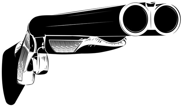 Vector illustration black and white shotgun isolated background