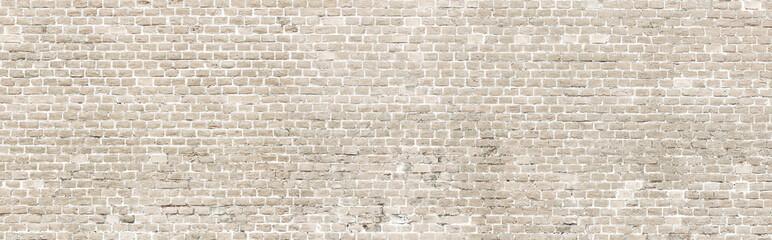 In de dag Graffiti White wash old brick wall panorama.