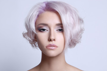 color hair beautiful young woman