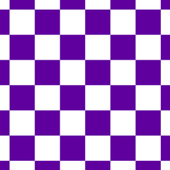 Chessboard or checker board seamless pattern in blue and white. Checkered board for chess or checkers game. Strategy game conce