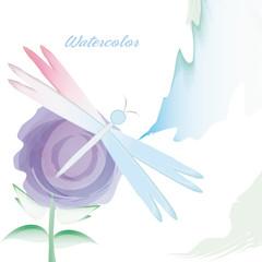 watercolor flower card decoration design vector illustration