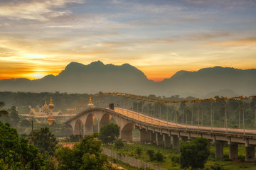Morning light of 3rd thai-lao friendship bridge at nakhon phanom ,thailand
