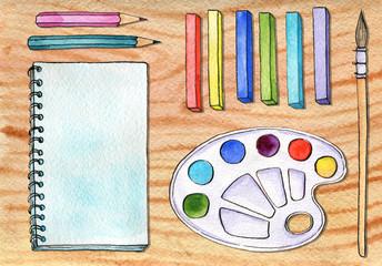 watercolor artistic workspace