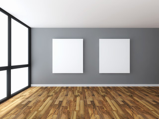 Empty room interior with white canvas