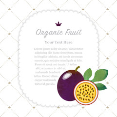Colorful watercolor texture nature organic fruit memo frame passion fruit