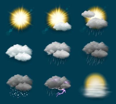 Pictogrammes météo vectoriels 3