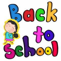 colour back to school text and Girl with cute backpack
