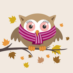 Female owl with scarf on a fall day