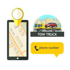 Evacuation vehicles. Tow truck for transportation faulty cars. Design logos, logo. Phone GPS.